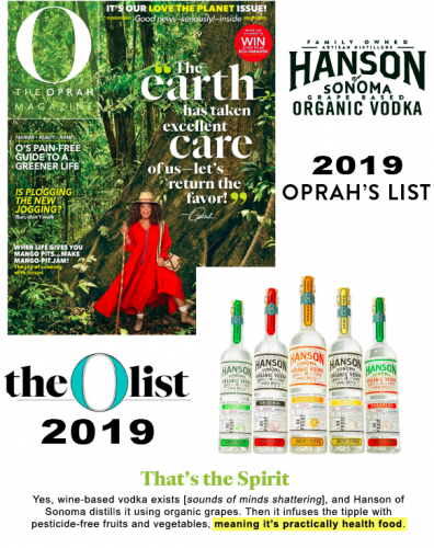 WOW we just made Oprah's list with our Hanson Vodka for 2019