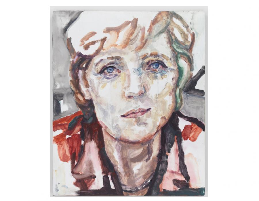Angela Merkel's Humanity, Captured in an Elizabeth Peyton Oil
