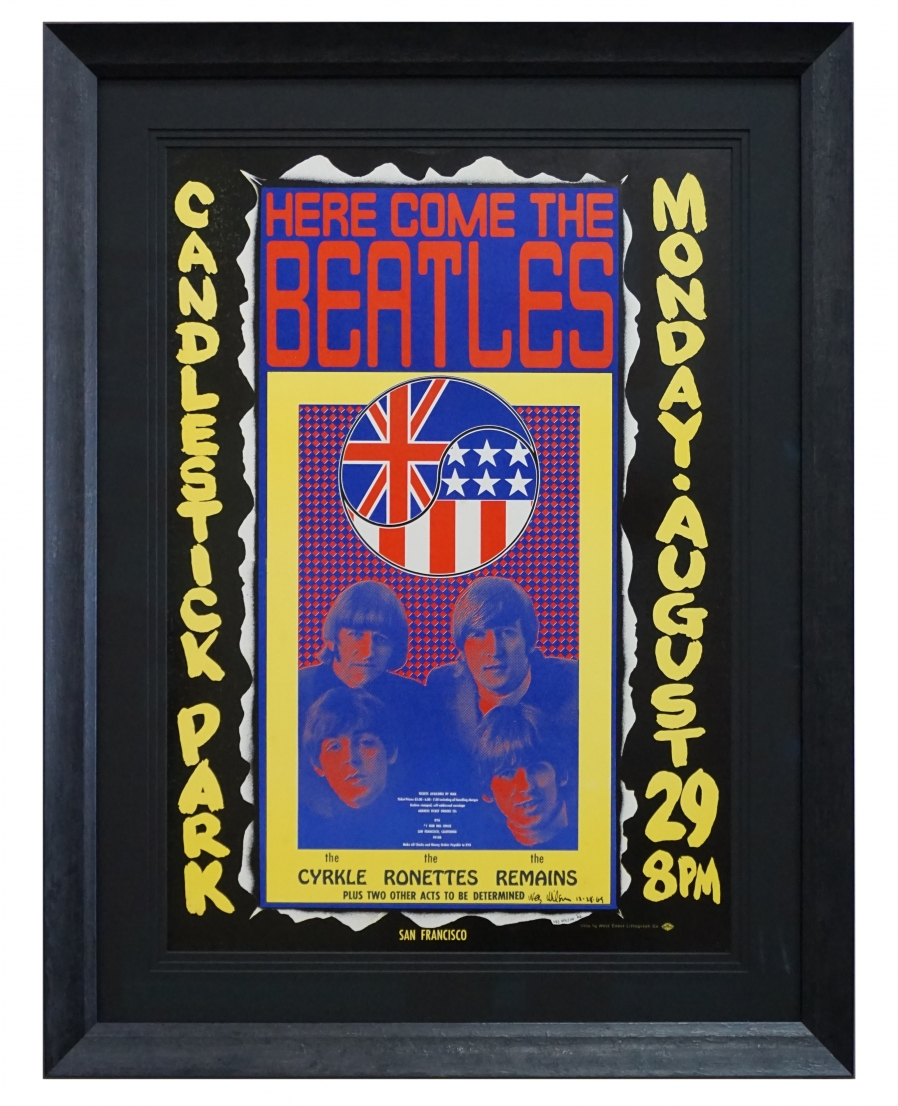 AOR 1.115 Wes Wilson poster for the Beatles, their final concert at Candlestick Park in San Francisco August 29, 1966