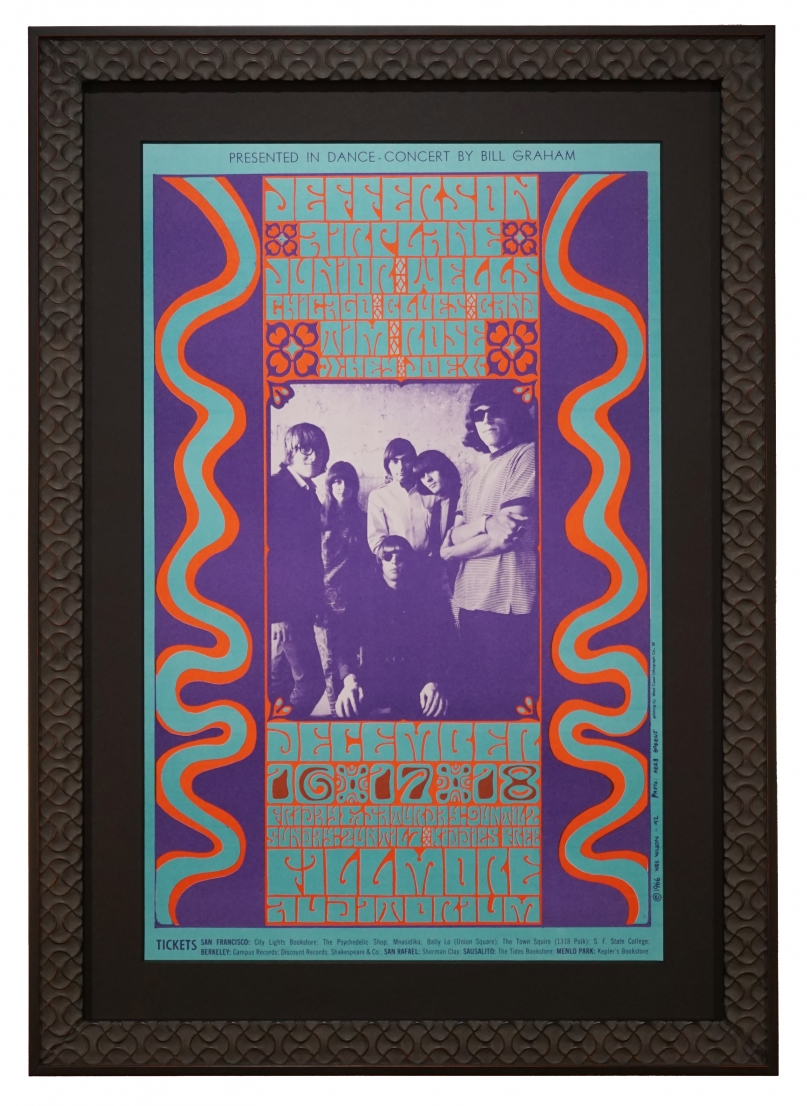 BG-42 Fillmore poster from 1966 by Wes Wilson for the Jefferson Airplane and Junior Wells - concert was December 16-18, 1966