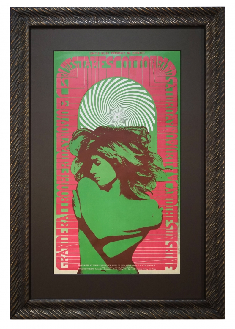 """1968 Poster for James Cotton Blues band called """"Vanessa"""", featuring Vanessa Redgrave by Carl Lundgren, Grande Ballroom Detroit"""