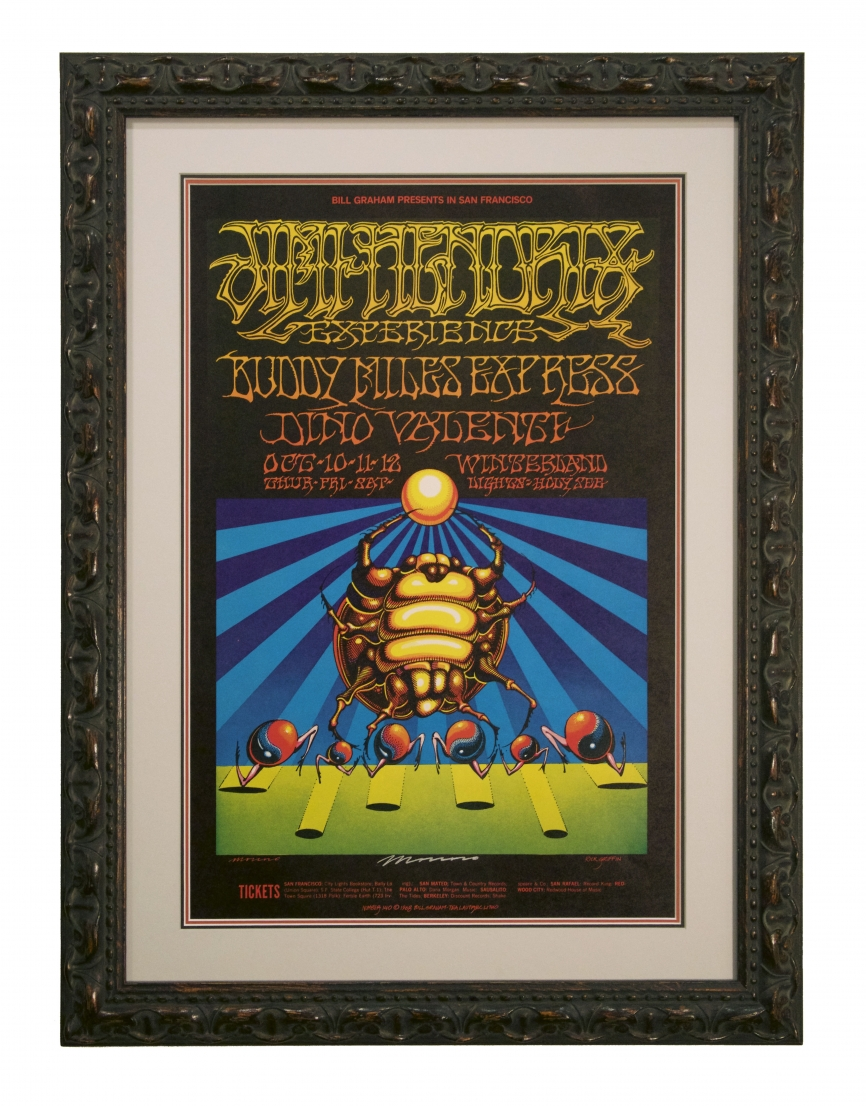 BG-140 Jimi Hendrix poster featuring a Scarab by Rick Griffin and Victor Moscoso. Fillmore West and Winterland Hendrix poster October 10-12 1968