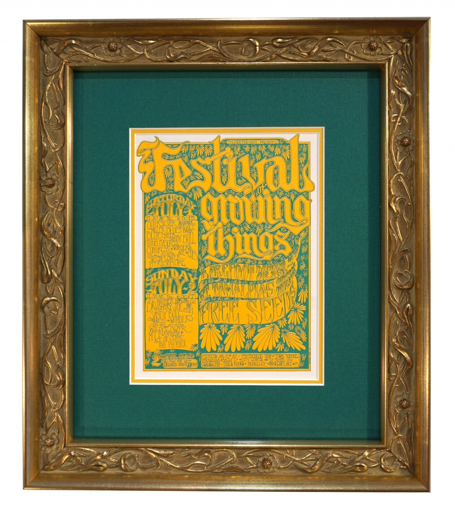 Handbill for the 1967 Festival of Growing Things July 1-2 1967 at Mt. Tam Amphitheater. Handbill artwork by Gut