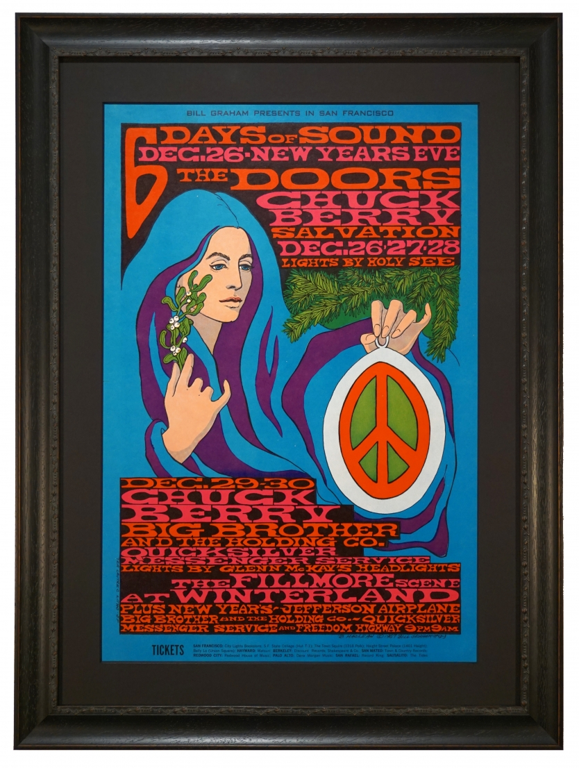 BG-99 Doors Poster 1967 with Chuch Berry, Jefferson Airplane, Quicksilver and Big Brother & the Holding Co. at Winterland News Year 1967-1968 by Bonnie MacLean called Six Days of Sound