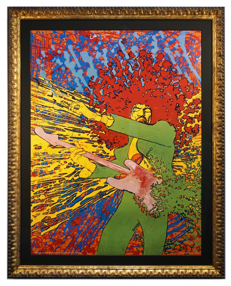 Jimi Hendrix poster, called Explosion, by Martin Sharp from 1971. Wild colors paint spattering Jackson Pollack Jimi Hendrix poster