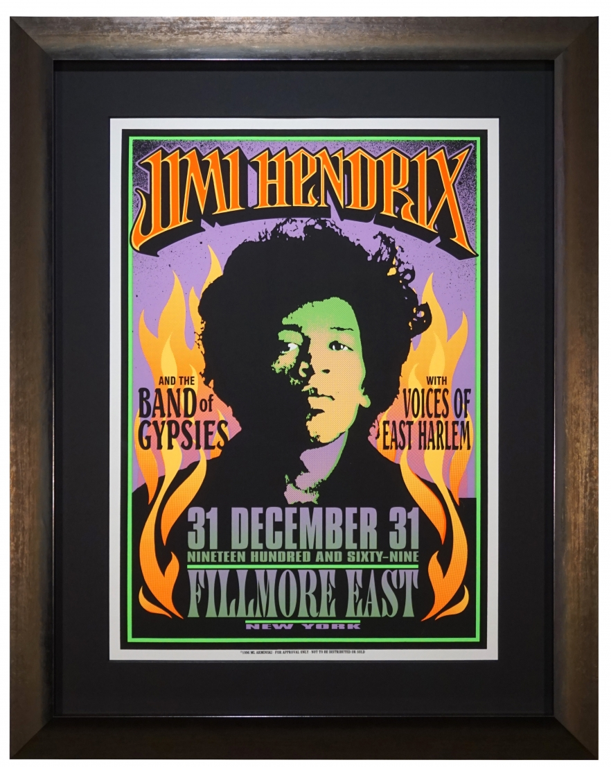 Poster by Mark Arminski for Jimi Hendrix & Band of Gypsies at Fillmore East New Years Eve 1968-1969