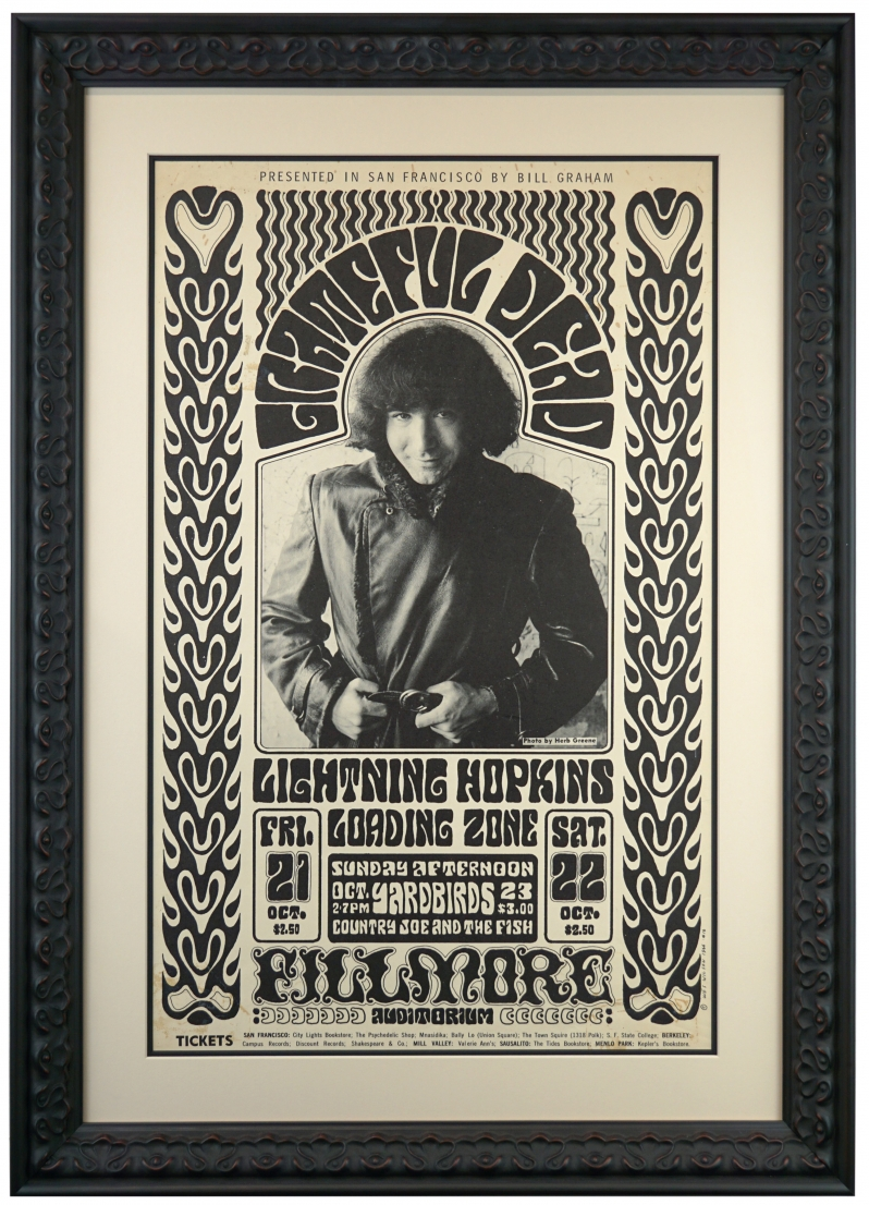 BG-32 Grateful Dead Poster from 1966 at the Fillmore with Lightning Hopkins and The Yardbirds. 1966 concert poster is by Wes Wilson and features Jerry Garcia photo by Herb Greene