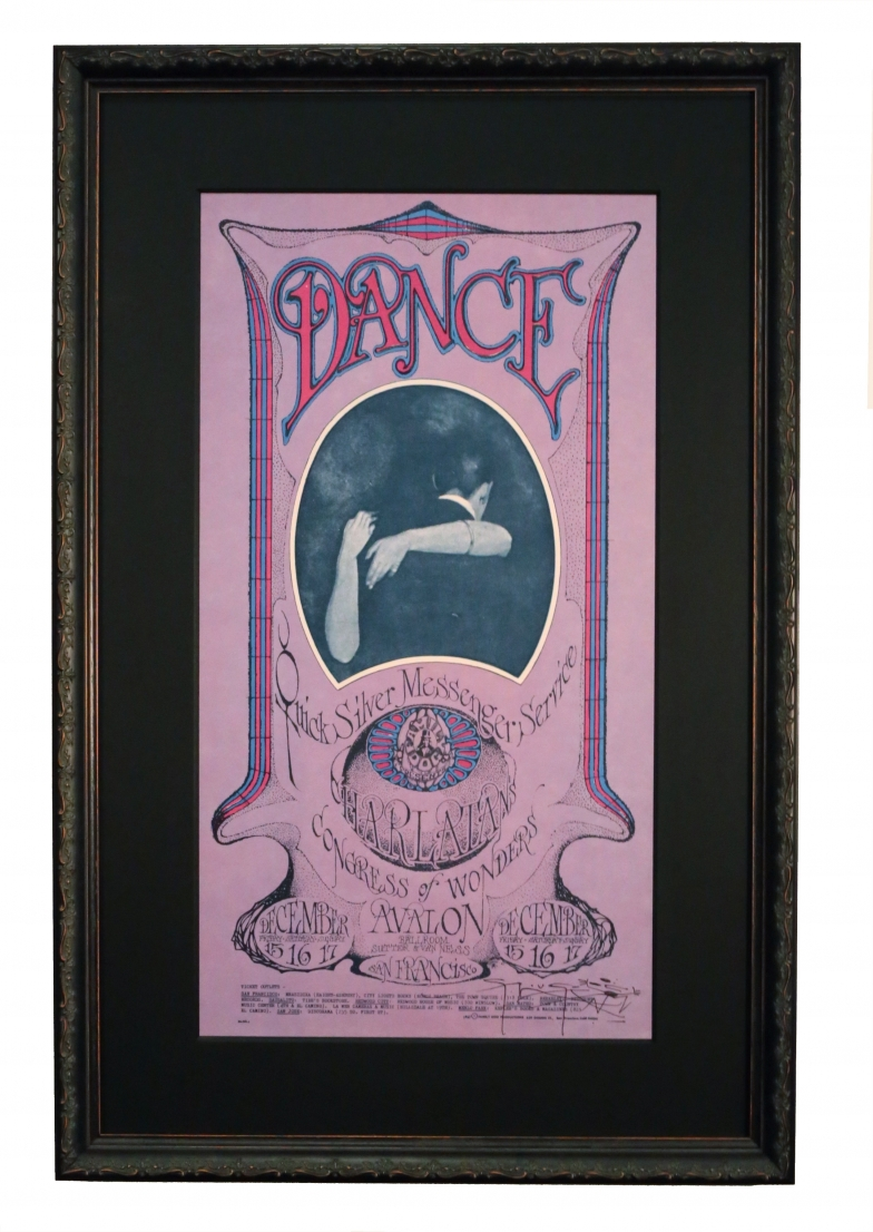 FD-96 Poster called Dance Dance, 1967 by Stanley Mouse and Alton Kelley. Quicksilver Messenger Service poster 1967 with Valentines theme