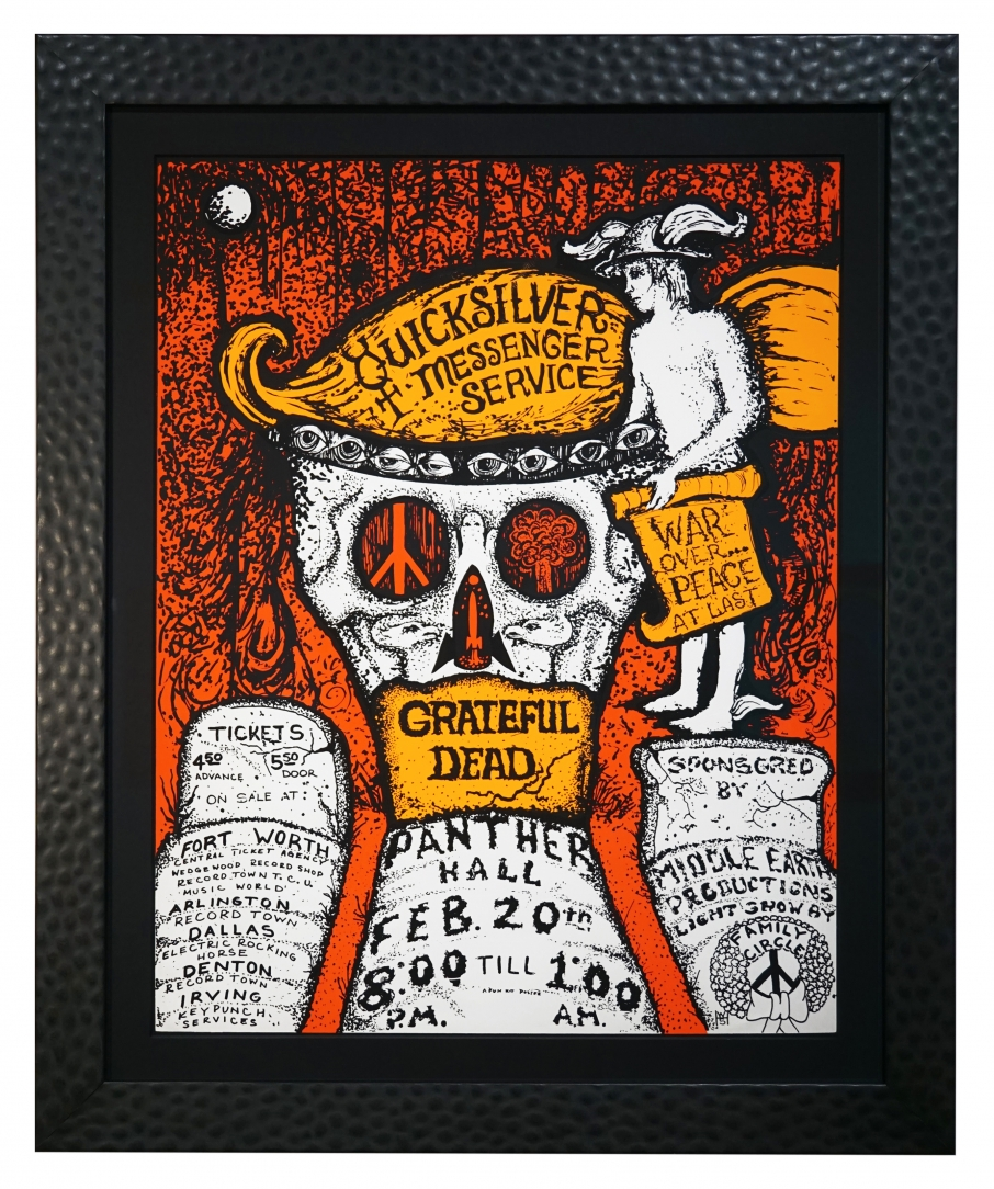 AOR 4.161 Vintage 1970 Grateful Dead Poster with Quicksilver Messenger Service in Ft. Worth Texas, Feb 20, 1970. Grateful Dead Panther Hall.