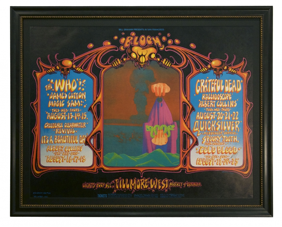 BG-133 Poster by Alton Kelley and Rick Griffin. Grateful Dead poster 1968 Who poster at Fillmore West