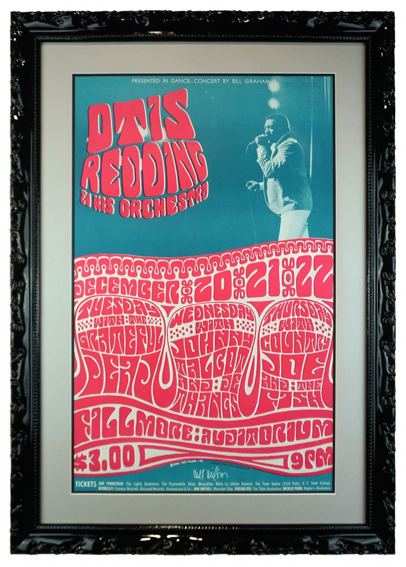 BG-43 Fillmore Poster from 1966 by Wes Wilson featuring Otis Redding, Grateful Dead, Country Joe & The Fish with a picture of Otis Redding