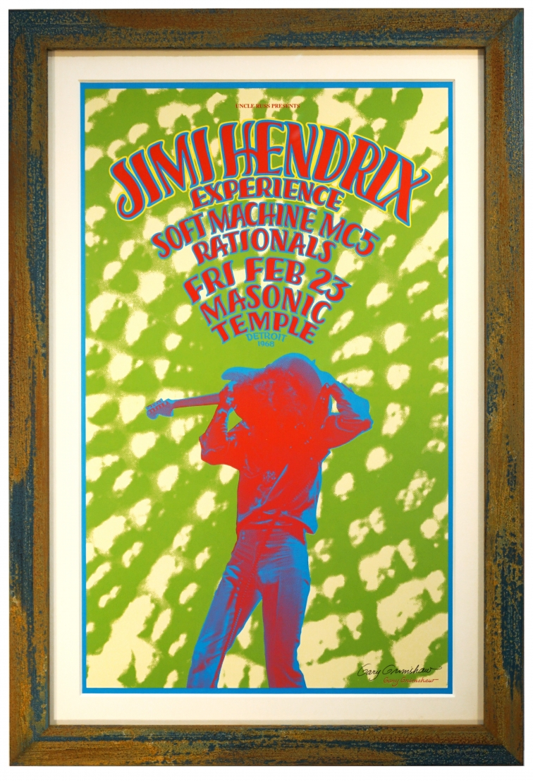 Original Jimi Hendrix concert poster from 1968. By Gary Grimshaw, February 23, 1968 Detroit Hendrix poster