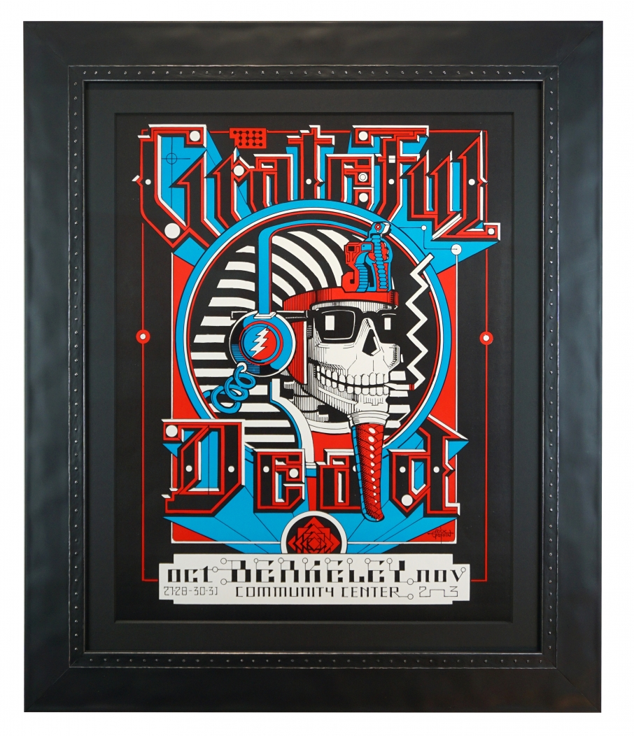 """1984 Grateful Dead Poster by Rick Griffin called """"Pharaoh,"""" for concerts at the Berkeley Community Theatre also known as the 1984 BCT shows"""