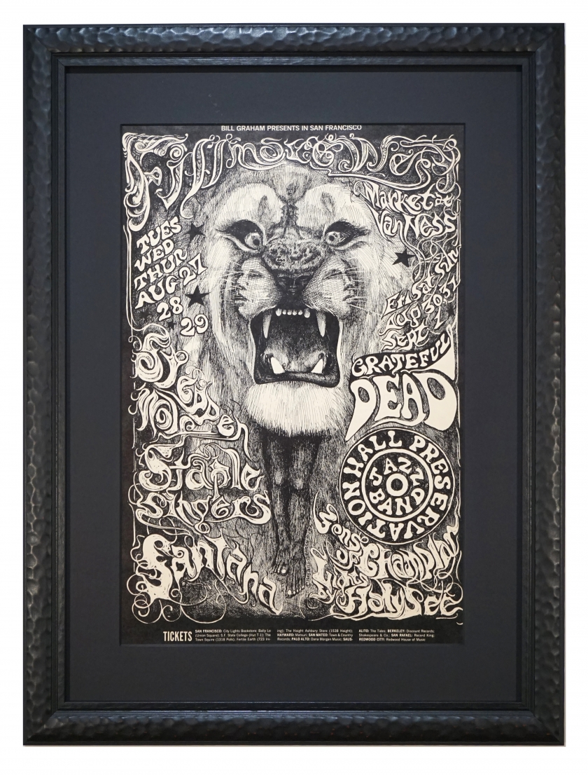 Original first printing of BG-134 poster by Lee Conklin featuring the Santana Lion, Grateful Dead, Steppenwolf at Fillmore West Aug 27, 1968
