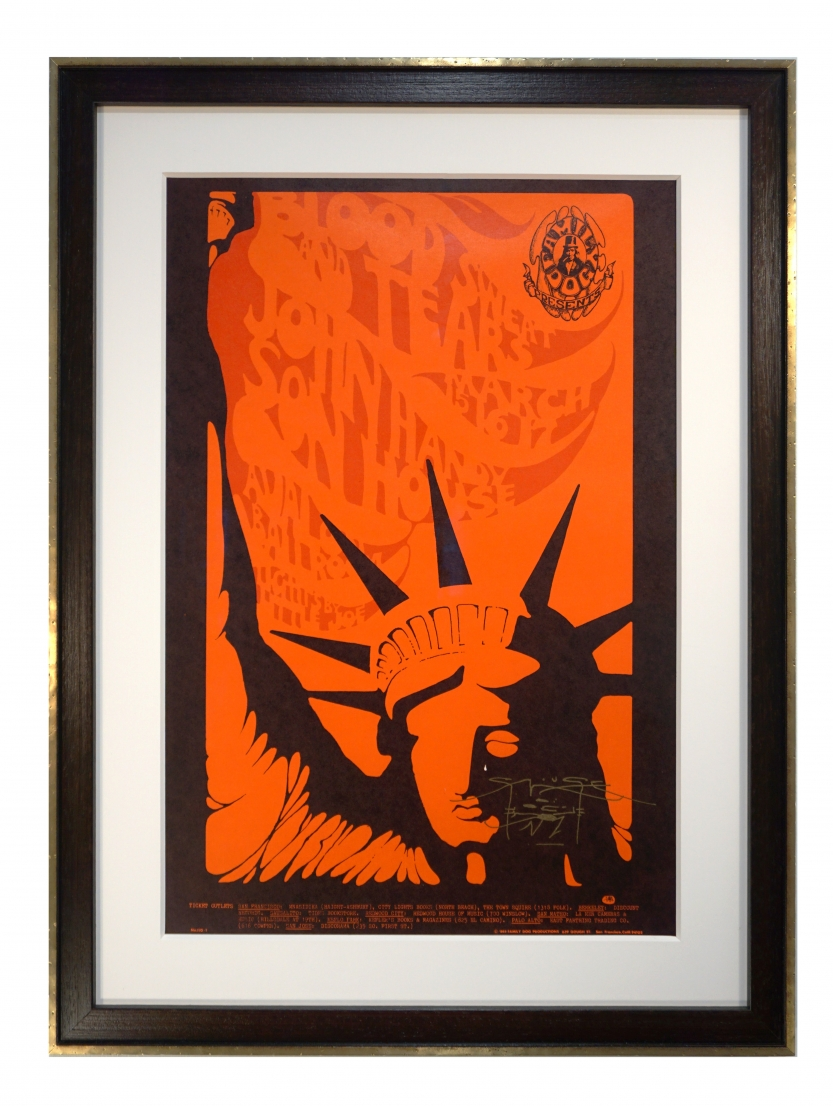 FD-110 Libertie, a 1968 poster for Blood Sweat & Tears by Mouse and Kelley at the Avalon in San Francisco - Statue of Liberty image is used