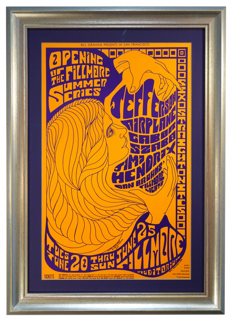 BG-69 Jimi Hendrix Poster from 1967 at the Fillmore by Clifford Charles Seeley also featuring Jefferson Airplane and Gabor Szabo