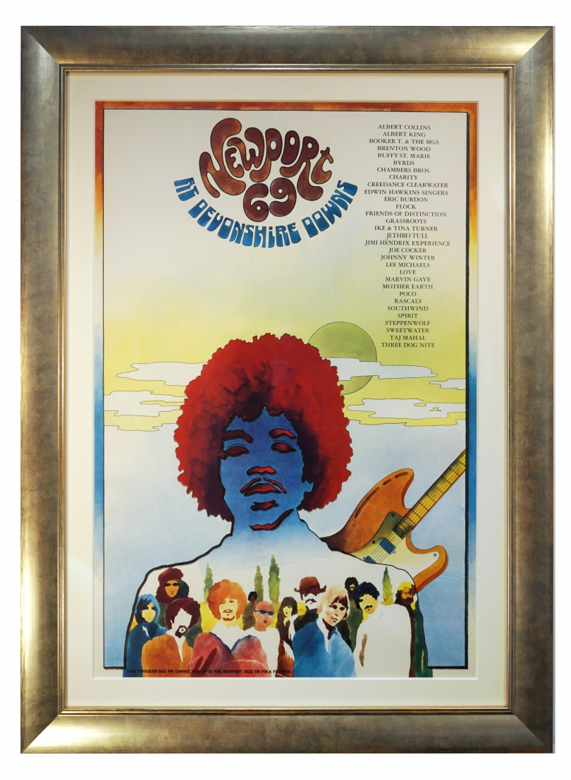 Poster for Newport Pop Festival 1969 at Devonshire Downs in Northridge CA. Large Jimi Hendrix Poster 1969