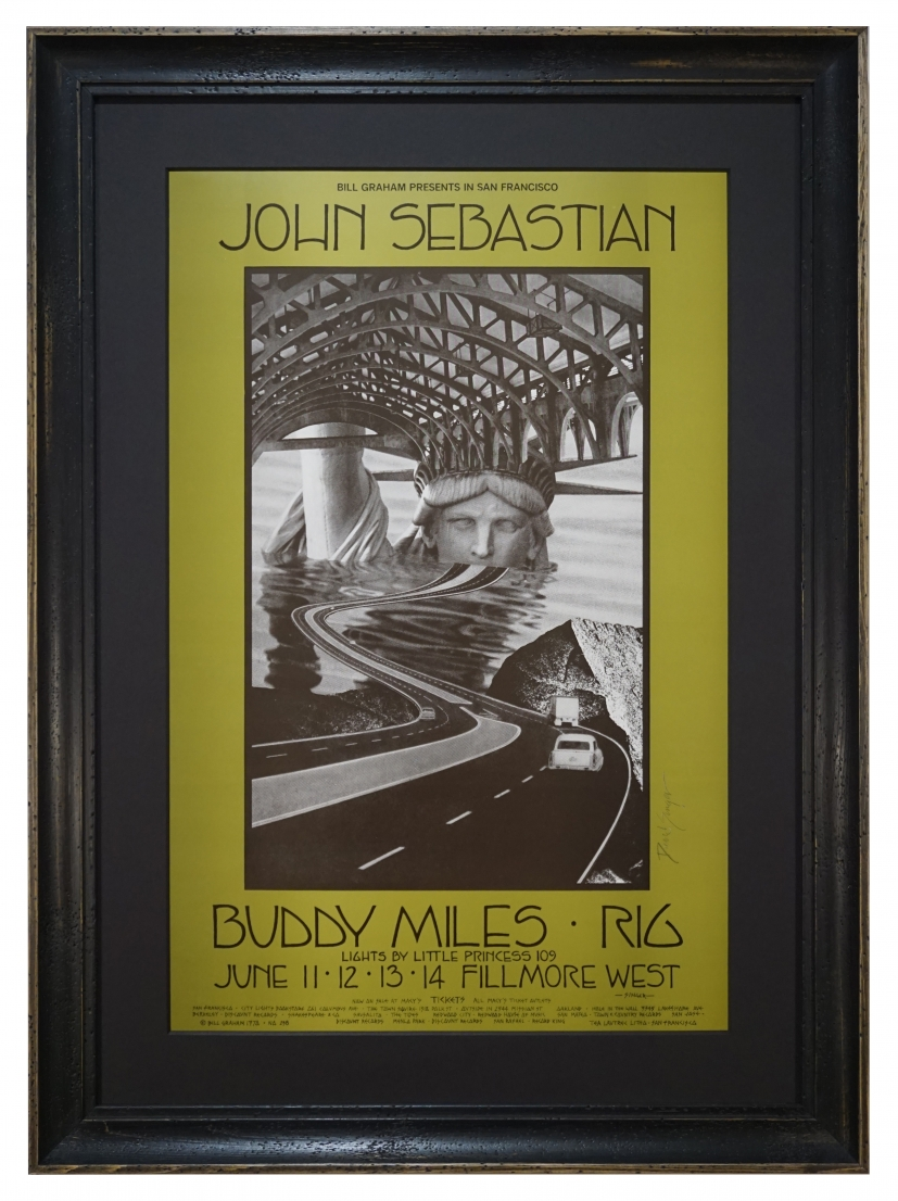BG-238  John Sebastian poster from June 11-14 1970 also featuring Buddy Miles and Rig at the Fillmore West. Poster by David Singer
