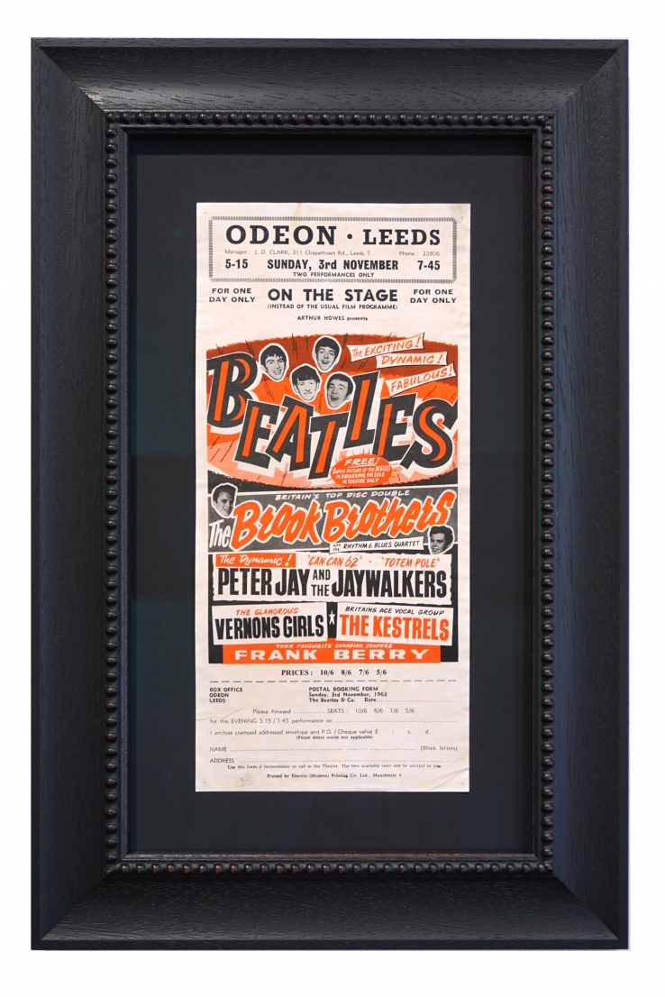 1963 Beatles poster for Odeon Leeds Theatre performance handbill