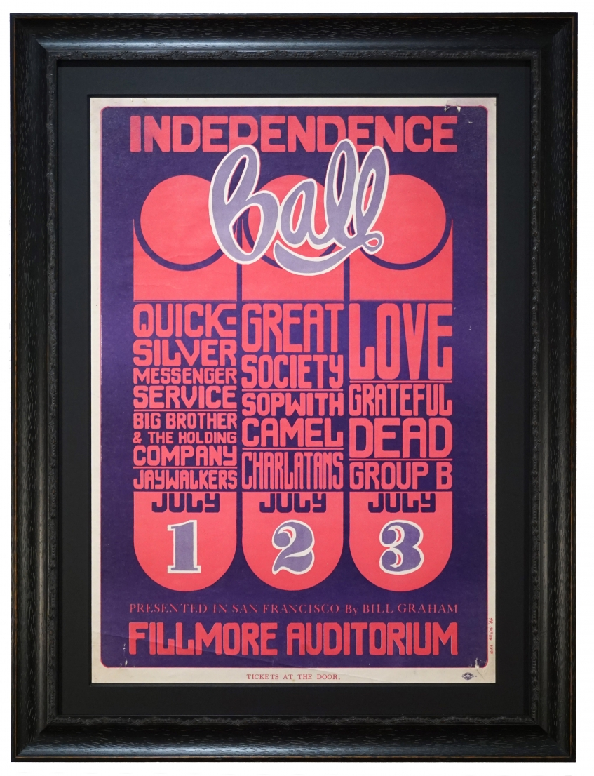 """BG-14 poster called Independence Ball by Wes Wilson. 1966 Grateful Dead concert poster also advertised the band called """"Love"""" and Big Brother & The Holding Company, Quicksilver Messenger Service, The Great Society, The Charlatans and Sopwith Camel"""