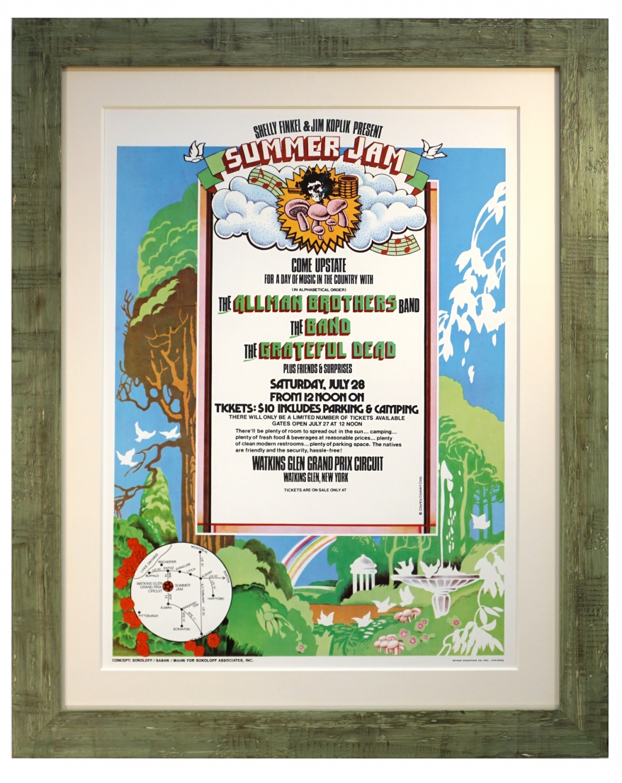 AOR 4.231 Watkins Glen 1973 original poster featuring grateful Dead, The Allman Brothers and The Band - July 28, 1973