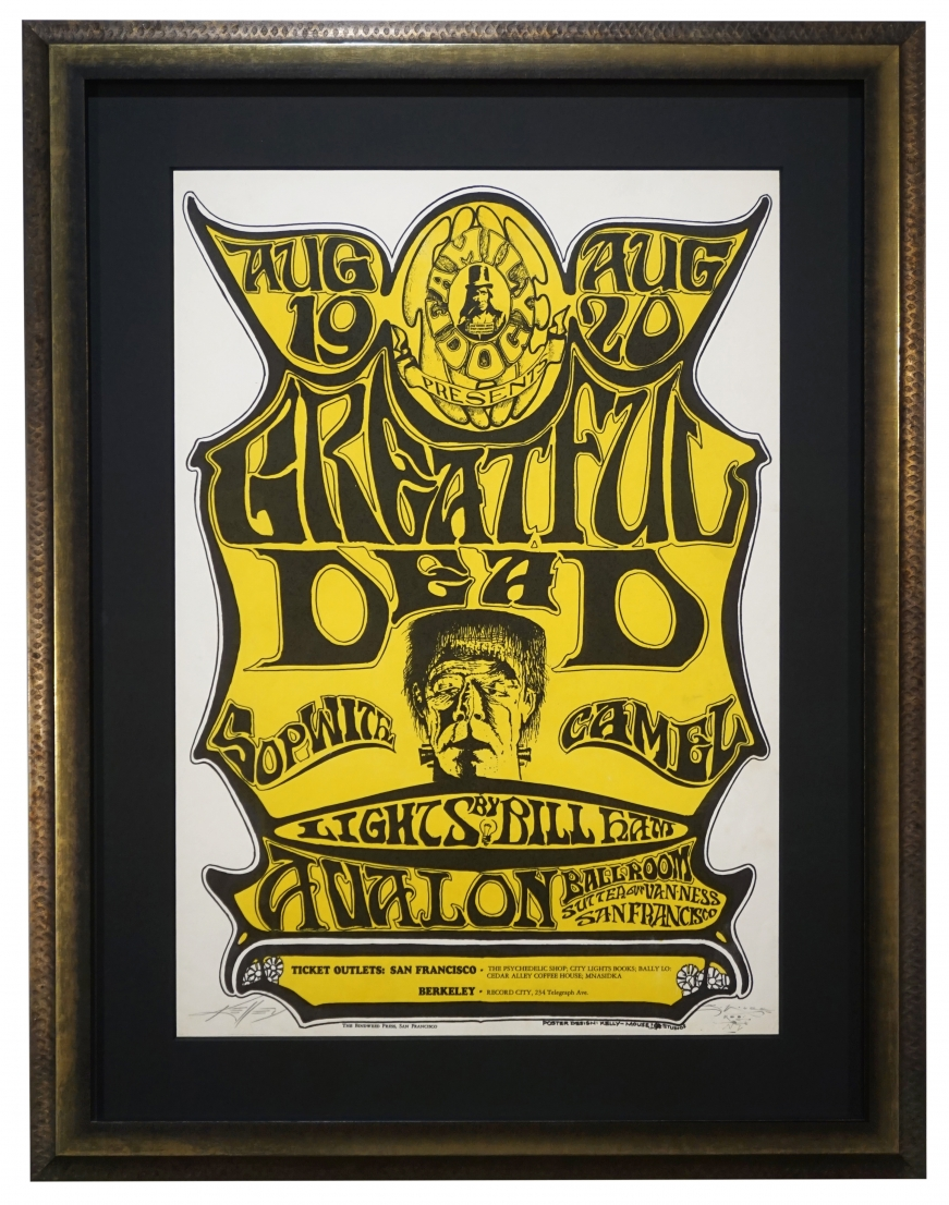 FD-22 poster by Stanley Mouse and Alton Kelley for Grateful Dead and Sopwith Camel with picture of Frankenstein, August 1966