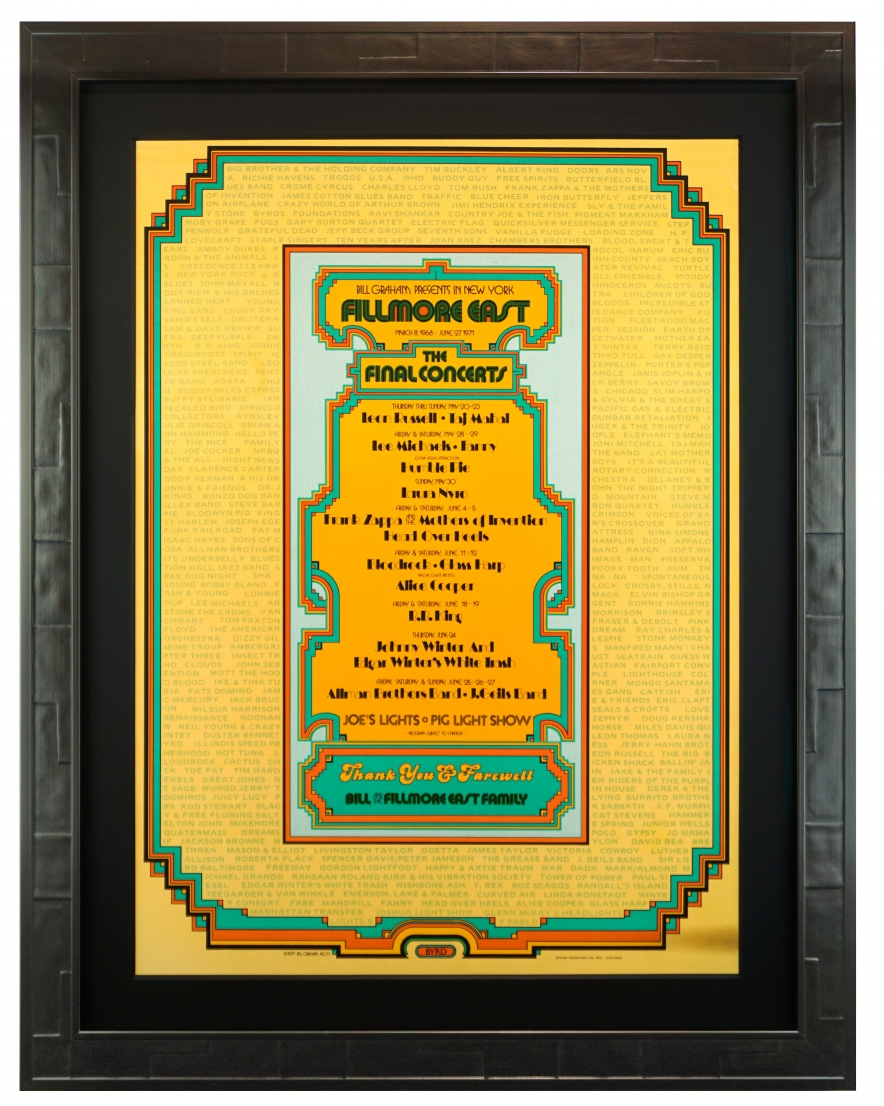 Closing of the Fillmore East Poster by David Byrd, June 1971 Final Allman Brothers Live at Fillmore East