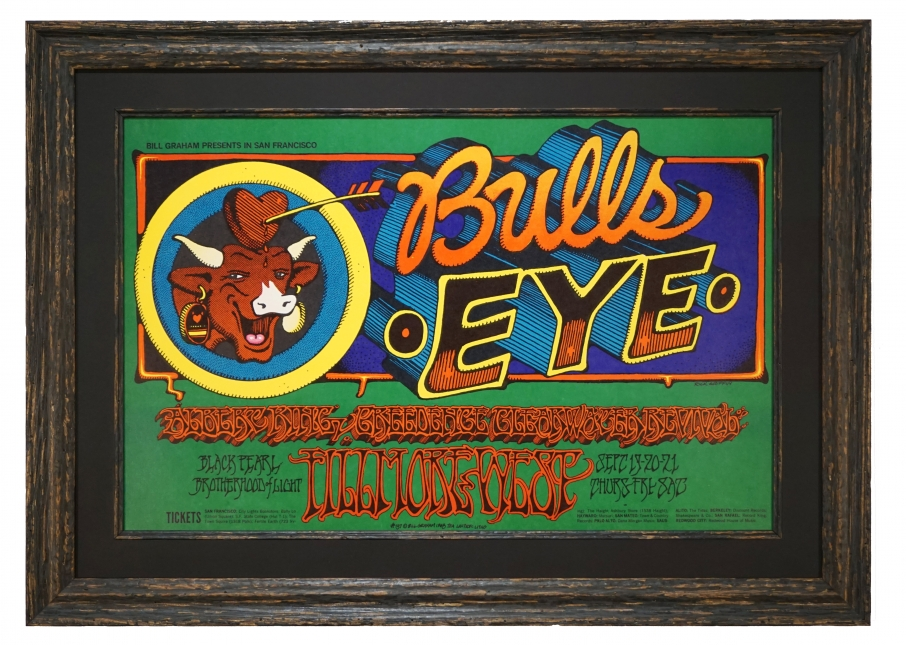 BG-137  Poster from 1968 advertising Creedence Clearwater Revival and Albert King. It's called Bulls Eye and features the cow in Laughing Cow cheese. Artist is Rick Griffin