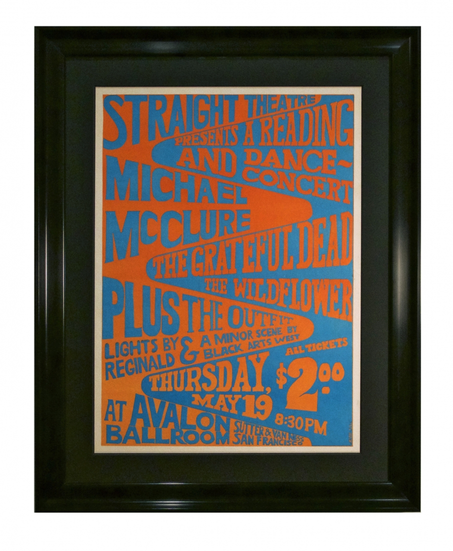 AOR 2.16 1966 Grateful Dead poster produced by Straight Theatre but at the Avalon Ballroom with Wildflower and Michael McClure by George Jacobs