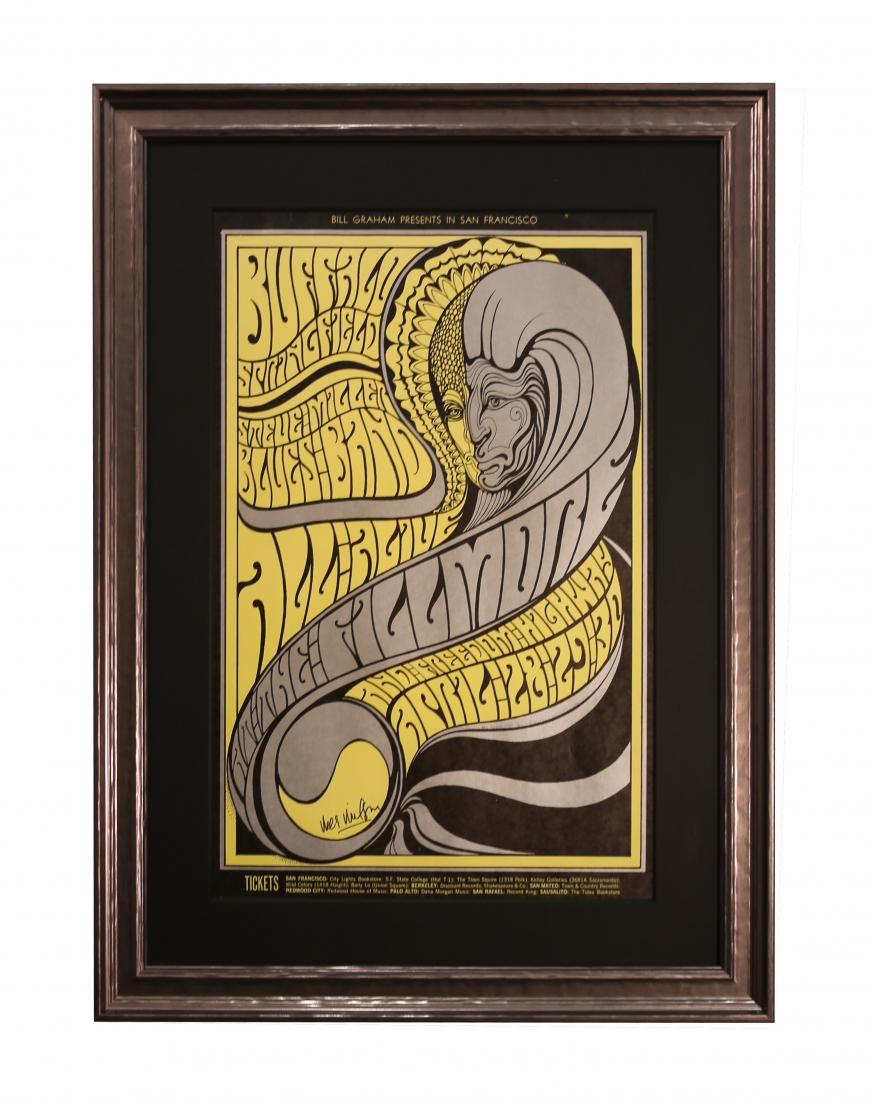 BG-61 Buffalo Springfield concert poster from 1967 by Wes Wilson. Show at the Fillmore also included Steve Miller Blues Band