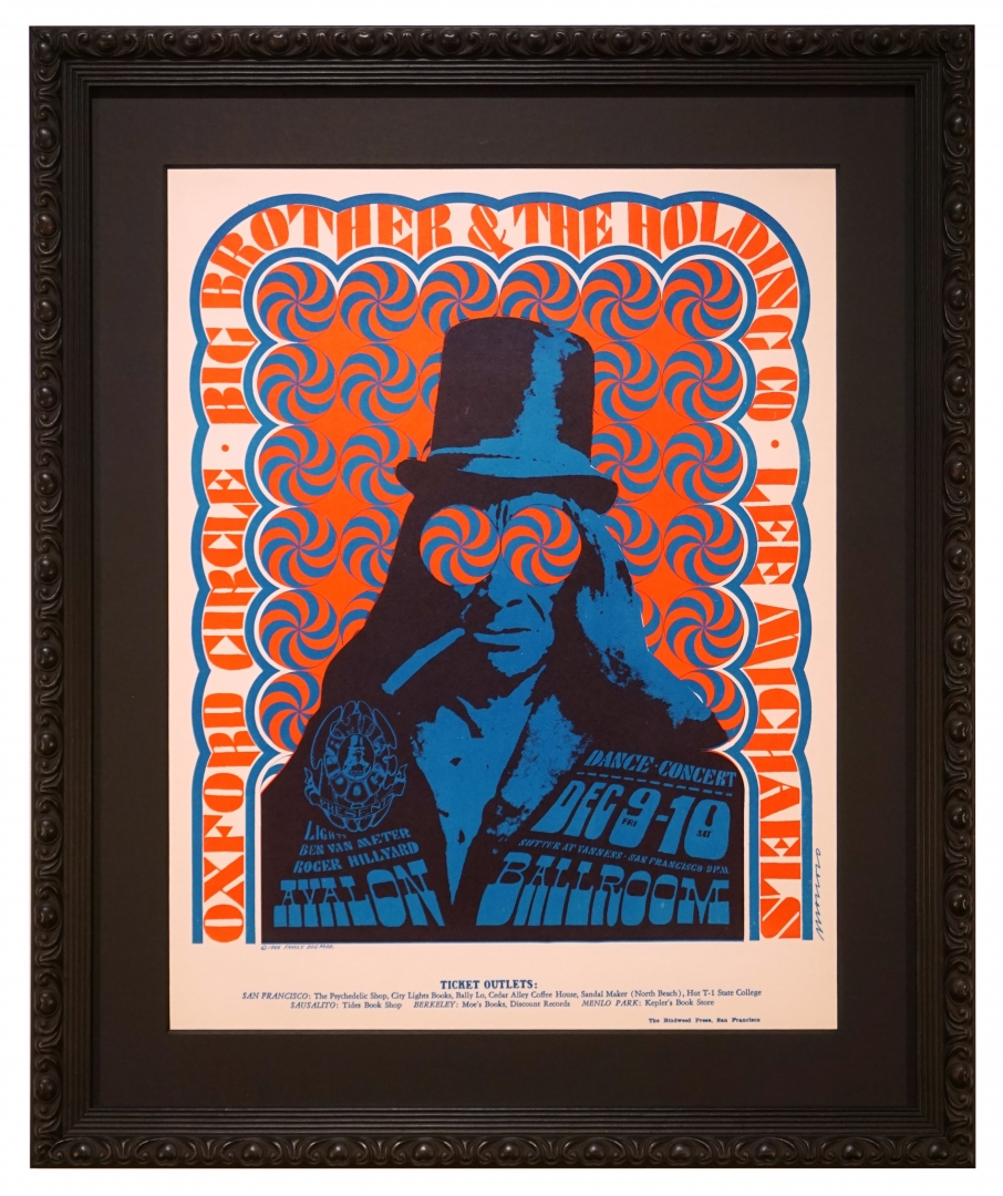 FD-38 1966 poster for Big Brother & The Holding Company, Oxford Cirle and Lee Michaels at the Avalon Ballroom December 9-10, 1966 by Victor Moscoso featuring the large Injun Joe logo from The Family Dog with swirly blue and red eyes