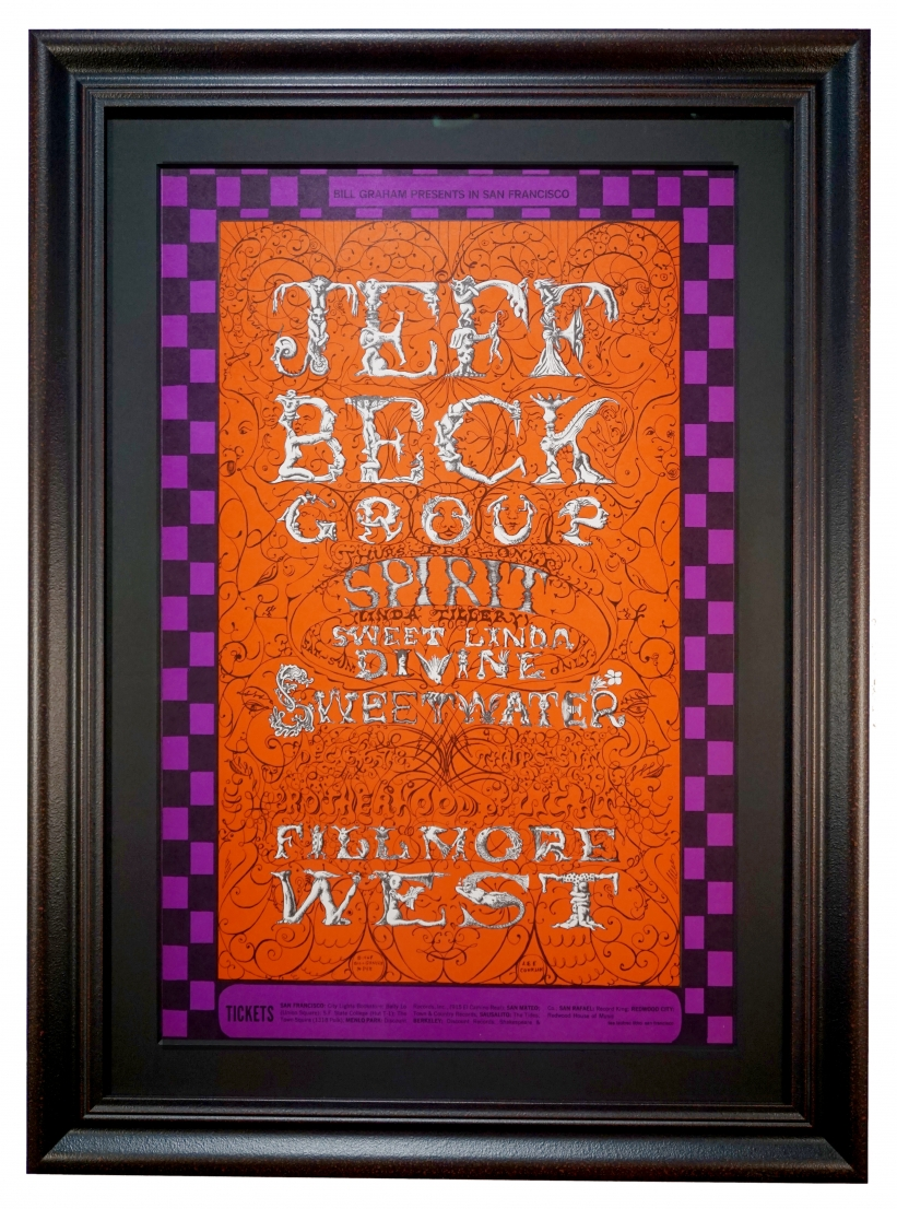 BG-148 Jeff Beck Poster by Lee Conklin also featuring Spirit. Fillmore West December 5-8, 1968