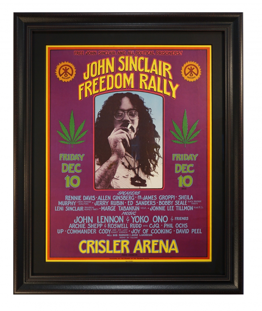 John Sinclair Freedom Rally Poster December 10, 1971. John Lennon concert poster by Gary Grimshaw. Marijuana weed poster