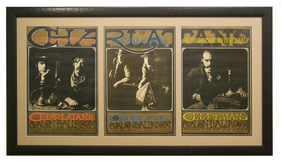 1967 Charlatans Triptych Avalon poster set featuring FD-63, FD-67, FD-71 by Rick Griffin and Bob Fried