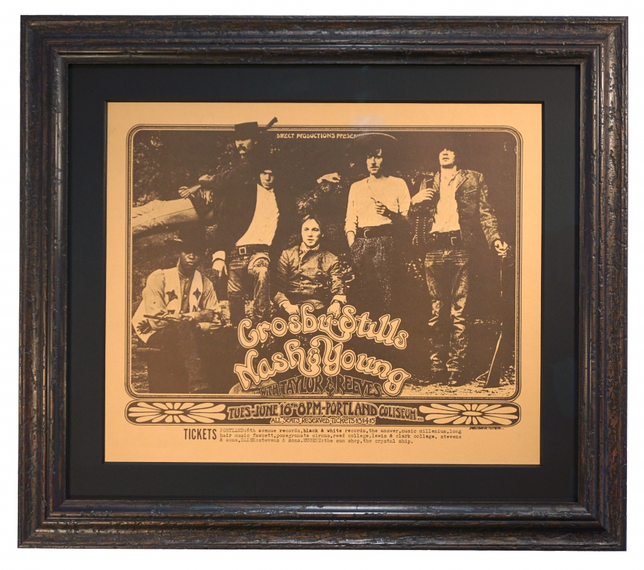 Original 1970 concert poster for CSNY playing in Portland OR. Crosby Still Nash & Young old western look to this poster