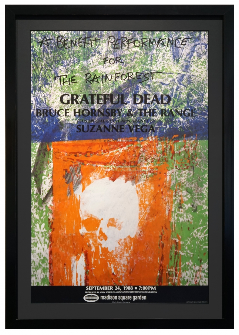 Grateful Dead poster for Rainforest Benefit by Robert Rauschenberg at Madison Square Garden, NYC, 1988 also featuring Suzanne Vega and Bruce Hornsby