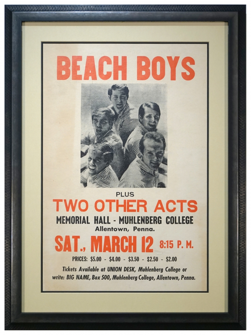 1966 poster announcing the Beach Boys at Muhlenberg College,. Vintage 1966 Beach Boys poster