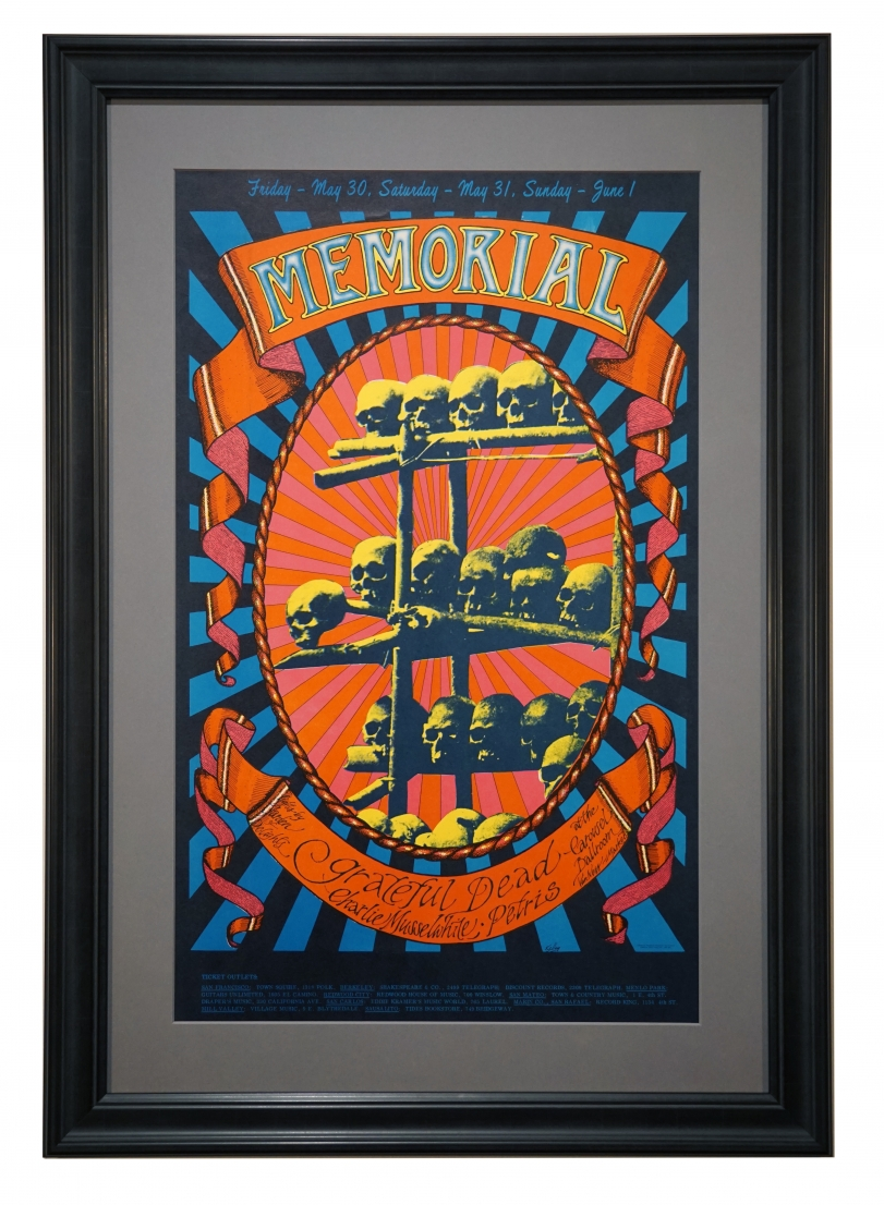 """AOR 2.160 Grateful Dead Poster titled """"Memorial"""" by Alton Kelley May 30-June 1, 1968 also featuring Charles Musselwhite and Petris"""