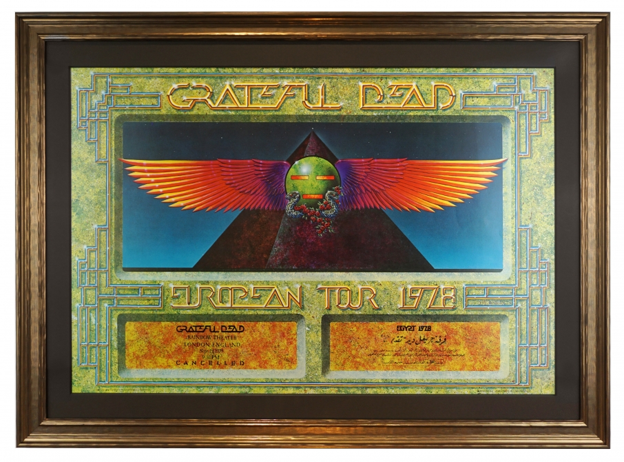 Grateful Dead Egypt 1978 poster, Rainbow Theatre, London variety by Alton Kelley. Also for European Tour 1978