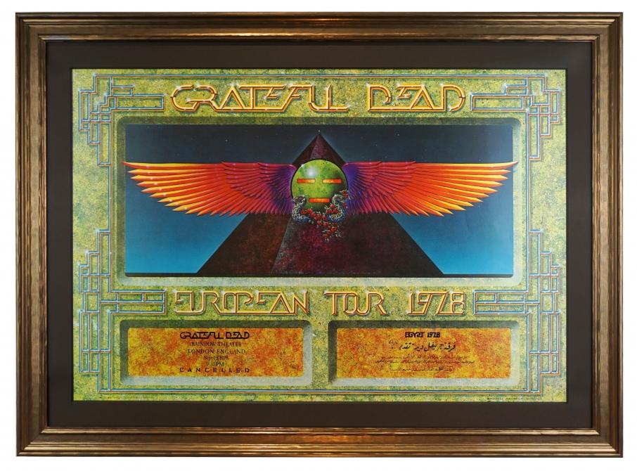 Grateful Dead Egypt 1978 poster, Rainbow Theatre, London variety by Alton Kelley. Also for European Tour 1978