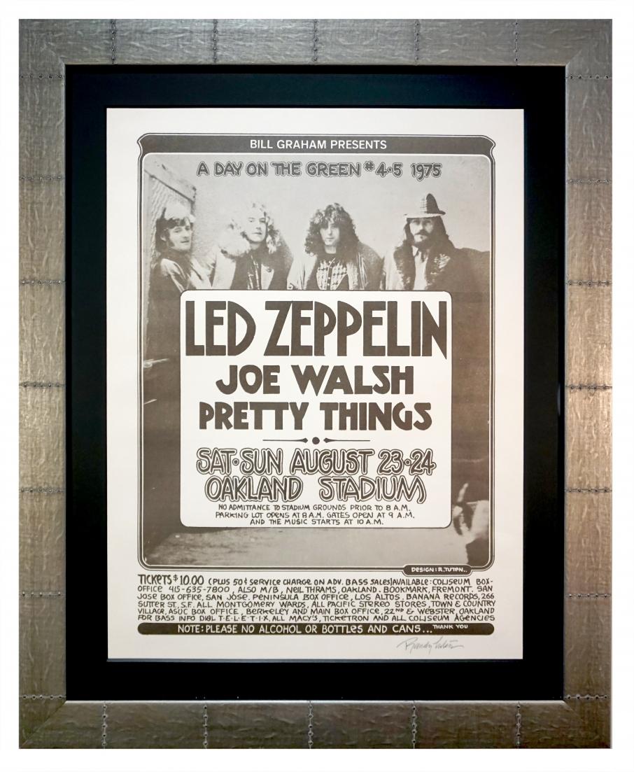 1975 Led Zeppelin poster advertising rock concert with Joe Walsh in Oakland in 1975 by Randy Tuten
