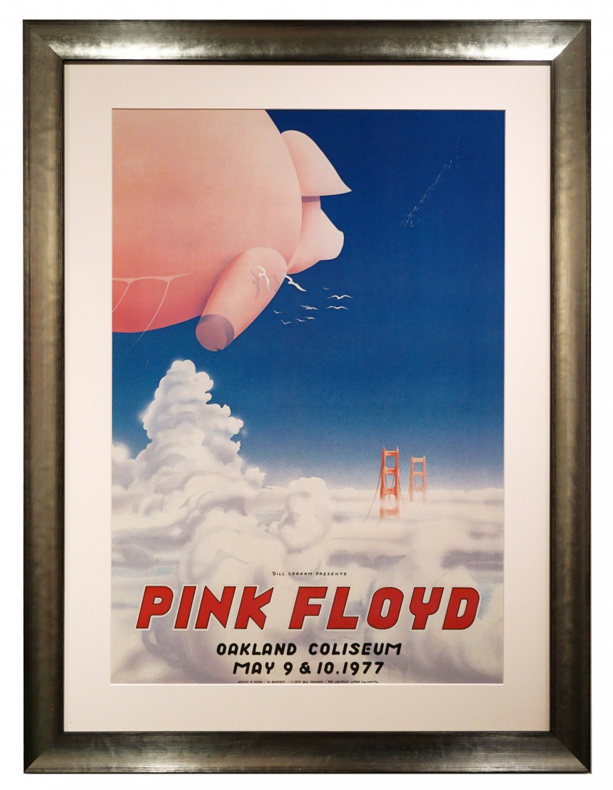 AOR 4.47  1977 Pink Floyd poster by Randy Tuten advertising Pink Floyd concerts May 9-10, 1977 in Oakland. A giant pink pig is floating over the clouds and towards the Golden Gate Bridge