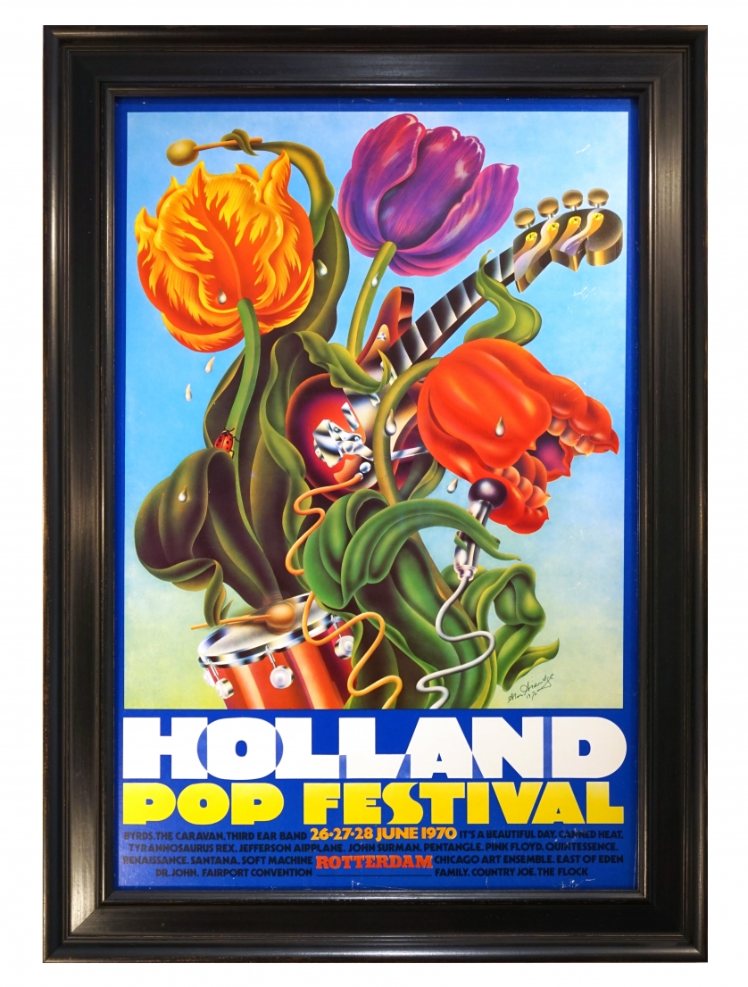 Poster for 1970 Holland Pop Festival, June 1970, held in Rotterdam, featuring Pink Floyd, also known as the Kralingen Music Festival 1970