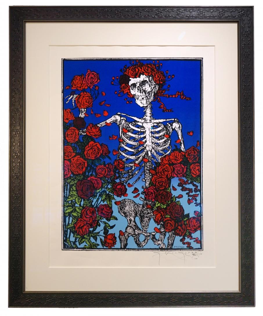 Grateful Dead poster - Stanley Mouse Skeleton & Roses silkscreen print 1998  Skull and Roses serigraph silkscreen