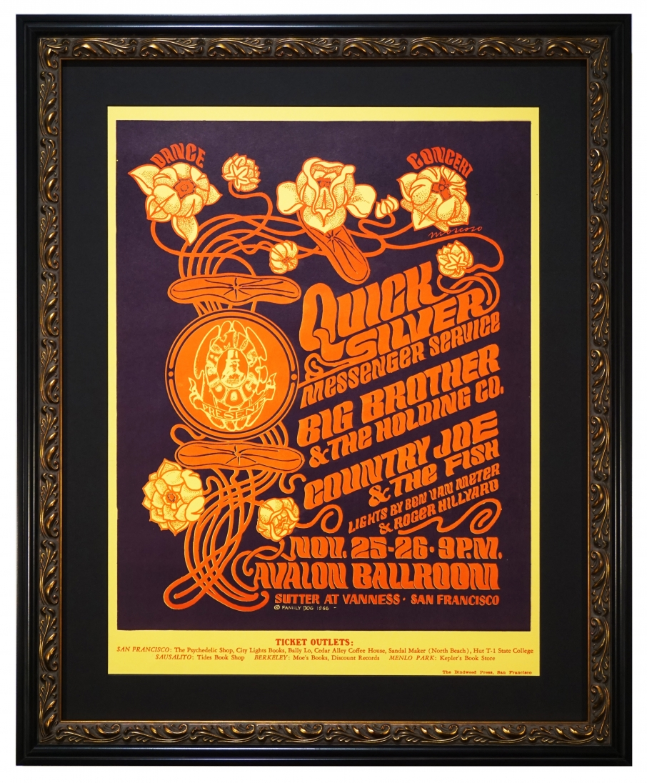 FD-36 Original 1966 poster for Quicksilver Messenger Service, Big Brother & The Holding Company and Country Joe & The Fish at the Avalon Ballroom November 25-26, 1966 by Victor Moscoso. Poster features art nouveau style flowers