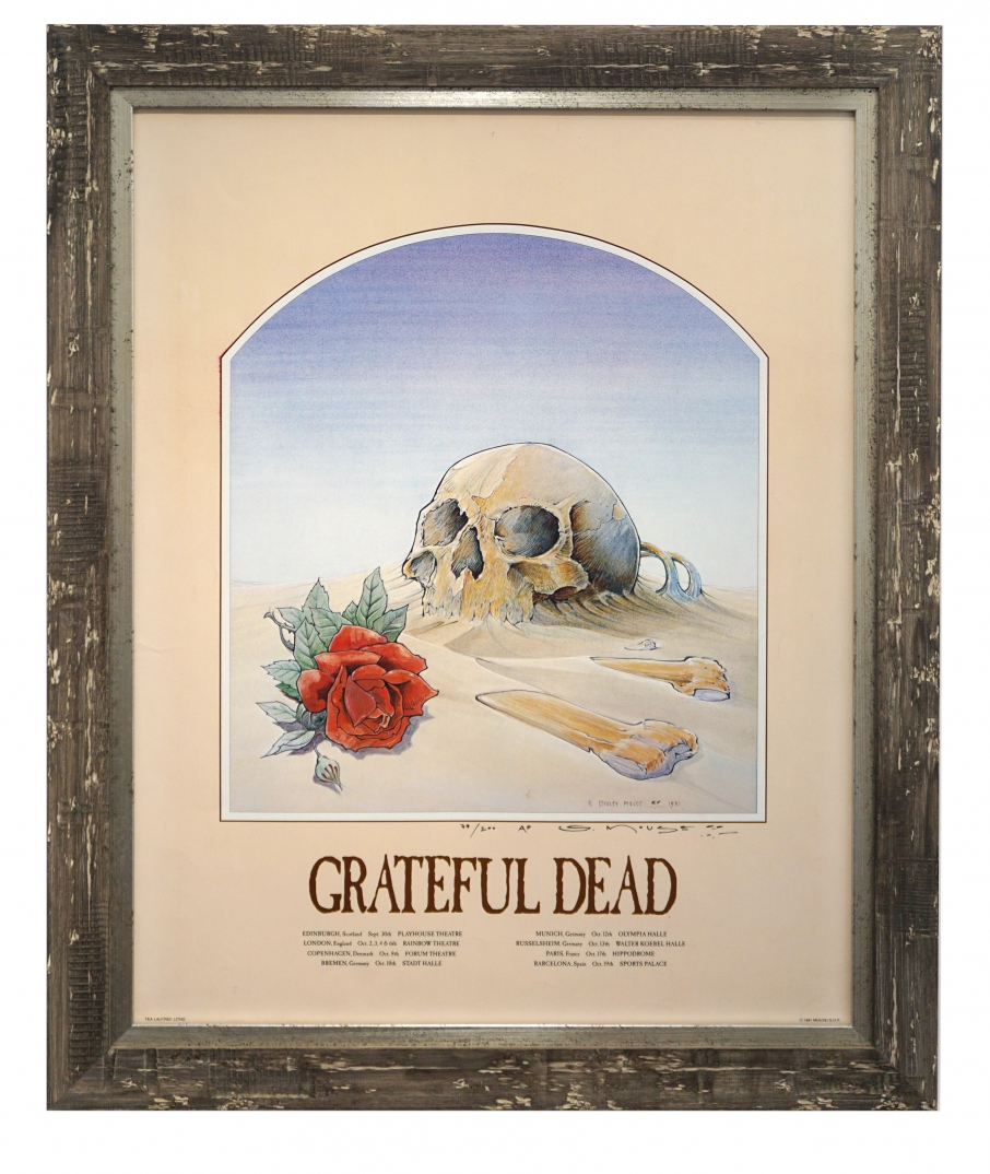 Grateful Dead poster Skull in Sand European Tour 1981by Stanley Mouse
