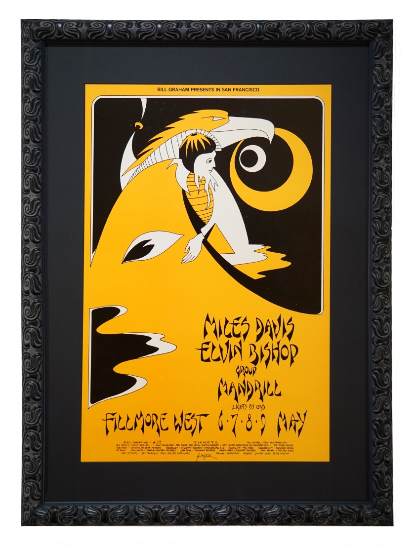 BG-279 Miles Davis Poster from 1971 by David Singer. Also features Elvin Bishop and Mandrill at Fillmore West in San Francisco
