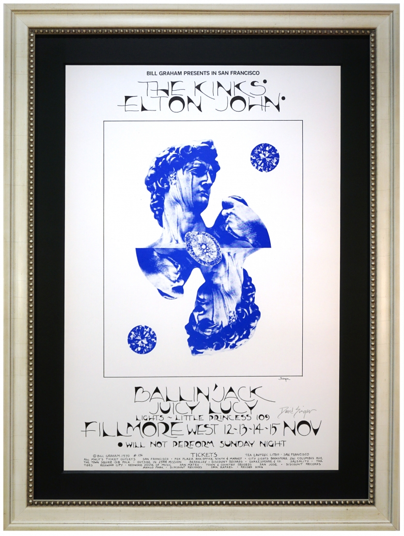 BG-256 Early Elton John poster from 1970. David Singer Kinks poster at Fillmore West November 12-15, 1970