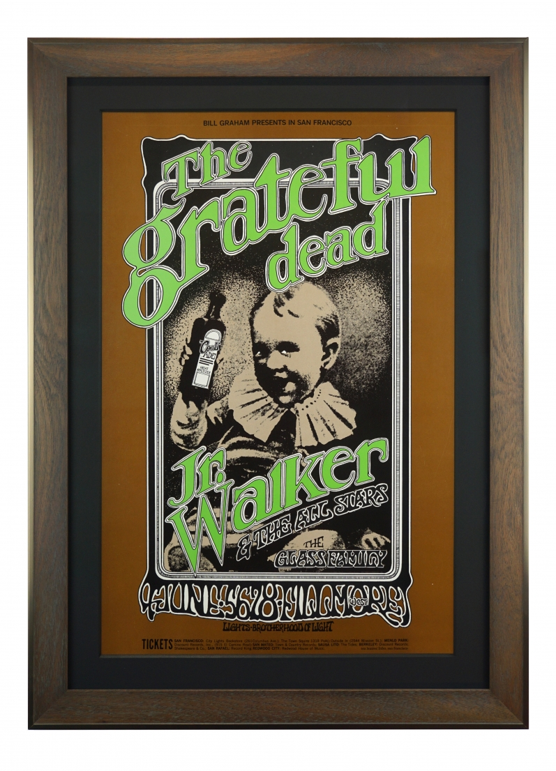 BG-176 Original Grateful Dead Concert Poster 1969 Fillmore West with Junior Walker. Features an old-time child holding a bottle of cool-aid tonic
