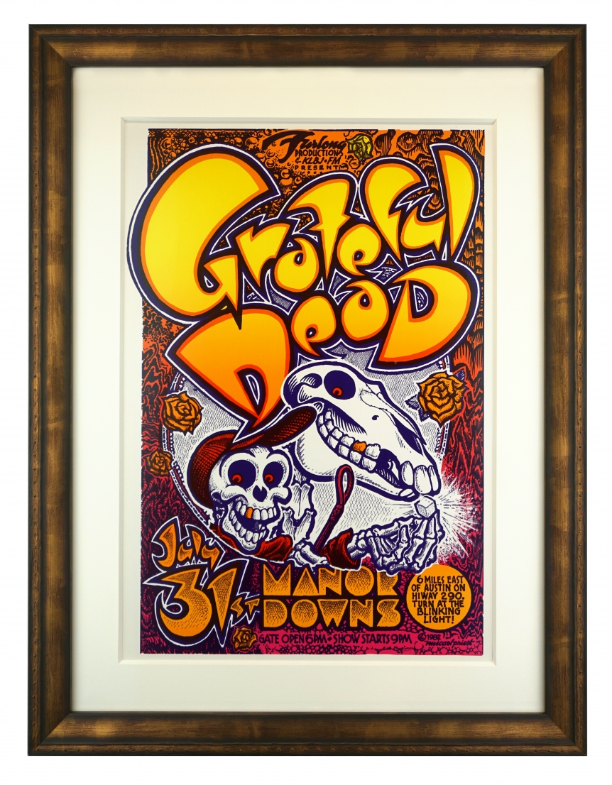 AOR 4.159  Grateful Dead poster called Acid Horse by Micael Priest, Grateful Dead at Manor Downs, Austin TX July 31, 1982